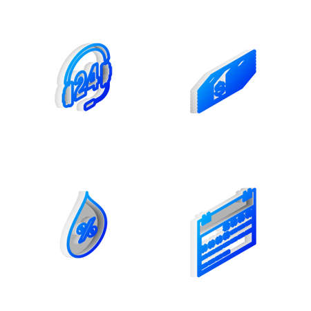 Set Isometric line Paper money dollars cash, Headphone for support, Water drop percentage and Calendar icon. Vector