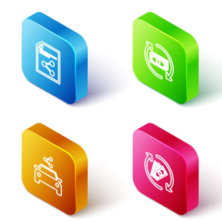 Set Isometric line Share file, Refund money, Car sharing and icon. Vector