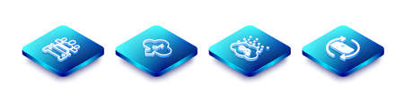 Set Isometric line Car sharing, Cloud download music, CO2 emissions cloud and Refund money icon. Vector