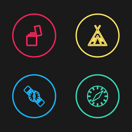 Set line Compass, Tourist tent and Lighter icon. Vector