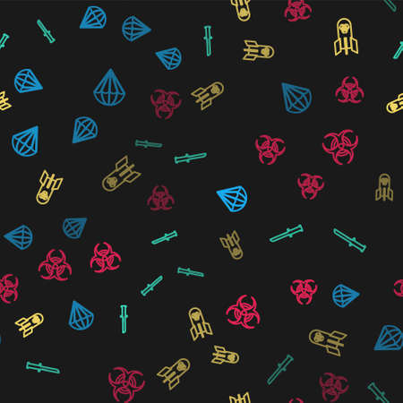 Set line Parachute, Military knife, Biohazard bomb and symbol on seamless pattern. Vector