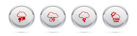Set line Cloud with snow and rain, lightning, Storm and snow, sun. Silver circle button. Vector