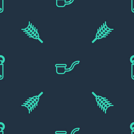 Set line Smoking pipe, Wheat and Bottle opener on seamless pattern. Vector