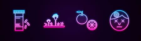 Set line Medicine bottle and pills, Mold, Orange fruit and Man having headache. Glowing neon icon. Vector Ilustracja