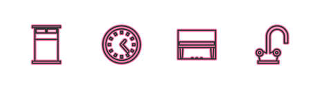 Set line Big bed, Grand piano, Clock and Water tap icon. Vector