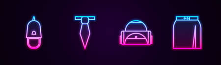 Set line Police cap with cockade, Tie, Sport bag and Skirt. Glowing neon icon. Vector