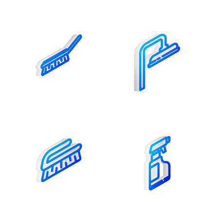 Set Isometric line Shower head, Brush for cleaning, and Spray bottle with detergent liquid icon. Vector Иллюстрация