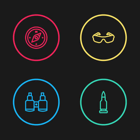 Set line Binoculars, Bullet, Glasses and Compass icon. Vector