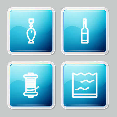 Set line Fishing spoon, Bottle of vodka, Spinning reel for fishing and Aquarium icon. Vector