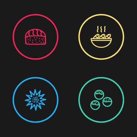 Set line Sea urchin, Takoyaki, Fish soup and Sushi icon. Vector