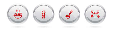 Set line Fish soup, Octopus, Sushi and Crab. Silver circle button. Vector