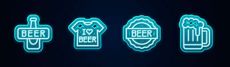 Set line Beer bottle, T-shirt, Bottle cap with beer and Wooden mug. Glowing neon icon. Vector