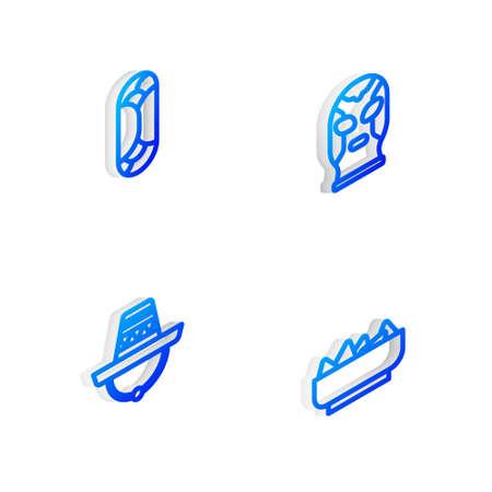Set Isometric line Mexican wrestler, Burrito, sombrero and Nachos in bowl icon. Vector Illustration