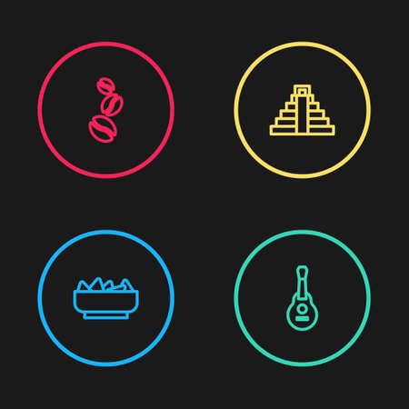 Set line Nachos in bowl, Mexican guitar, Chichen Itza Mayan and Coffee beans icon. Vector