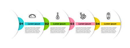 Set line Taco with tortilla, Mexican guitar, Cactus and Burrito. Business infographic template. Vector Ilustração