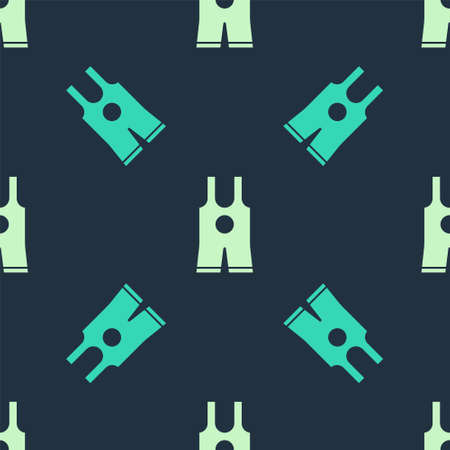 Green and beige Wrestling singlet icon isolated seamless pattern on blue background. Wrestling tricot. Vector Illustration
