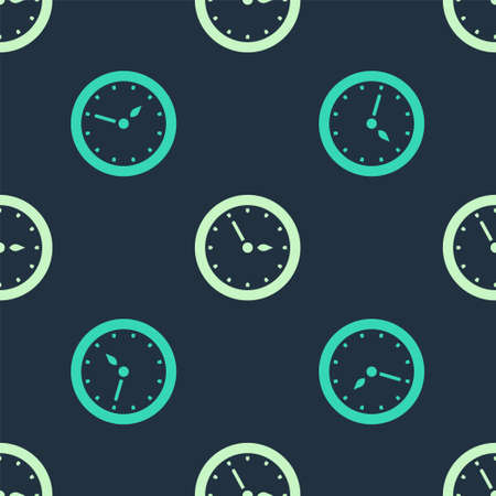 Green Sauna clock icon isolated seamless pattern on blue background. Sauna timer. Vector