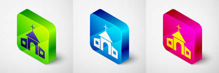 Isometric Church building icon isolated on grey background. Christian Church. Religion of church. Square button. Vector