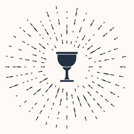 Grey Holy grail or chalice icon isolated on beige background. Christian chalice. Christianity icon. Abstract circle random dots. Vector Ilustracje wektorowe