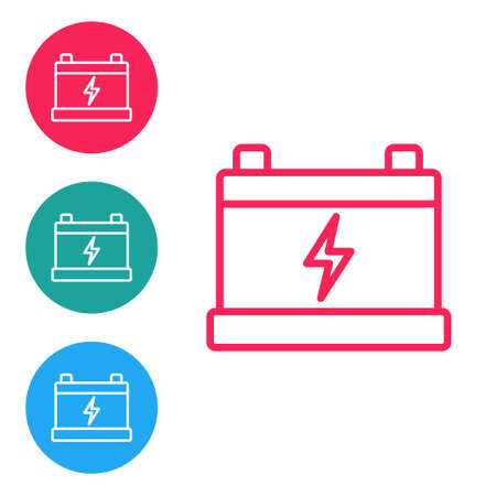 Red line Car battery icon isolated on white background. Accumulator battery energy power and electricity accumulator battery. Set icons in circle buttons. Vector