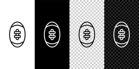 Set line American Football ball icon isolated on black and white,transparent background. Rugby ball icon. Team sport game symbol. Vector