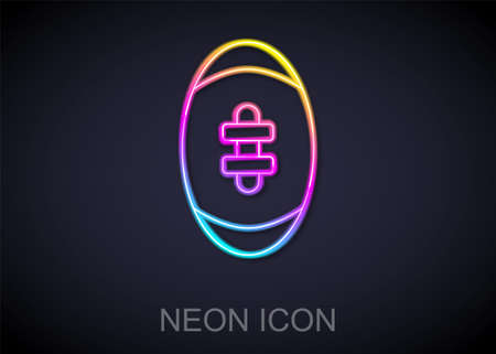Glowing neon line American Football ball icon isolated on black background. Rugby ball icon. Team sport game symbol. Vector