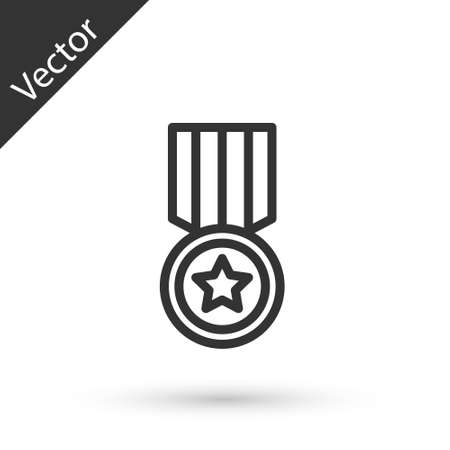 Grey line Medal icon isolated on white background. Winner achievement sign. Award medal. Vector