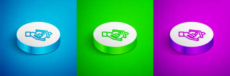 Isometric line buying house icon isolated on blue, green and purple background. Buying house. White circle button. Vector