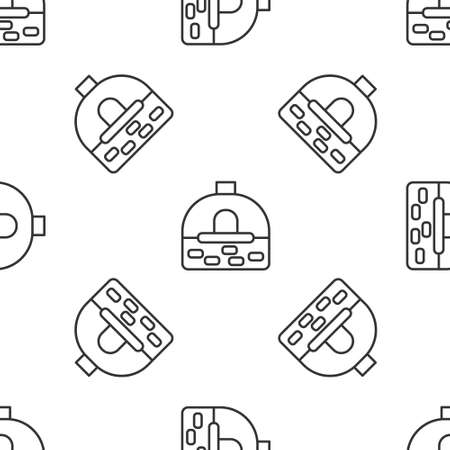 Grey line Brick stove icon isolated seamless pattern on white background. Brick fireplace, masonry stove, stone oven icon. Vector
