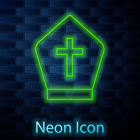 Glowing neon line Pope hat icon isolated on brick wall background. Christian hat sign. Vector