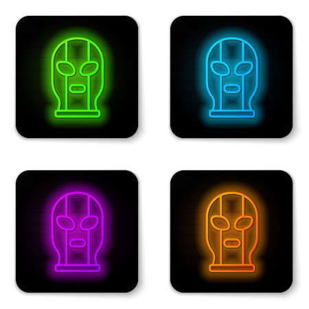 Glowing neon line Mexican wrestler icon isolated on white background. Black square button. Vector