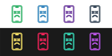 Set line Dead mobile icon isolated on black and white background. Deceased digital device emoji symbol. Corpse smartphone showing facial emotion. Vector