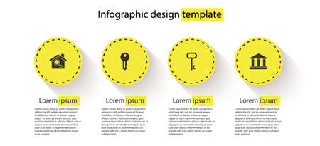 Set Search house, House key, and Museum building. Business infographic template. Vector