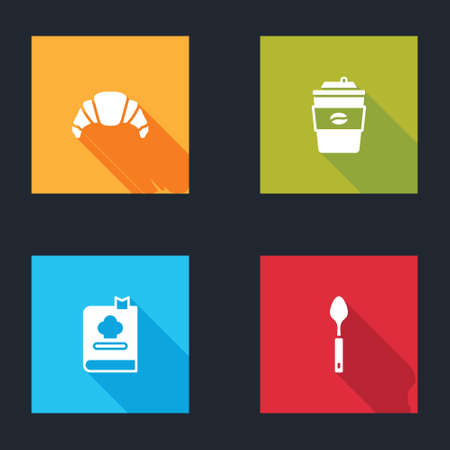Set Croissant, Coffee cup to go, Cookbook and Spoon icon. Vector