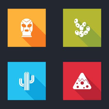 Set Mexican wrestler, Cactus, and Nachos icon. Vector Illustration