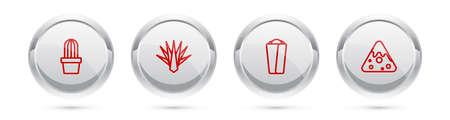Set line Cactus or succulent in pot, Agave, Burrito and Nachos. Silver circle button. Vector