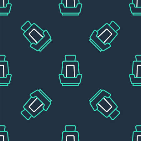 Line Car seat icon isolated seamless pattern on black background. Car armchair. Vector
