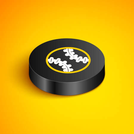 Isometric line Baseball ball icon isolated on yellow background. Black circle button. Vector Ilustração