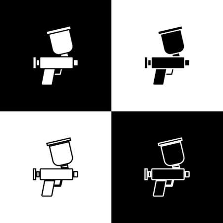 Set Paint spray gun icon isolated on black and white background. Vector