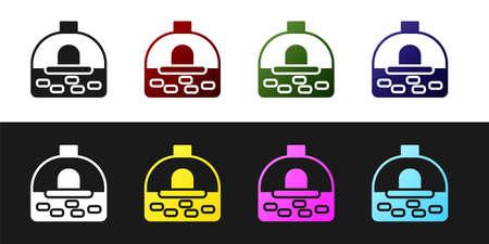 Set Brick stove icon isolated on black and white background. Brick fireplace, masonry stove, stone oven icon. Vector