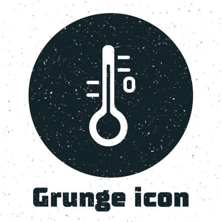 Grunge Sauna thermometer icon isolated on white background. Sauna and bath equipment. Monochrome vintage drawing. Vector