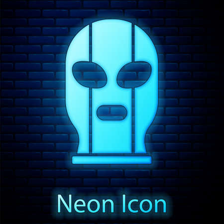 Glowing neon Mexican wrestler icon isolated on brick wall background. Vector Illustration