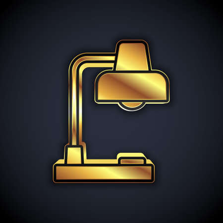 Gold Table lamp icon isolated on black background. Desk lamp. Vector