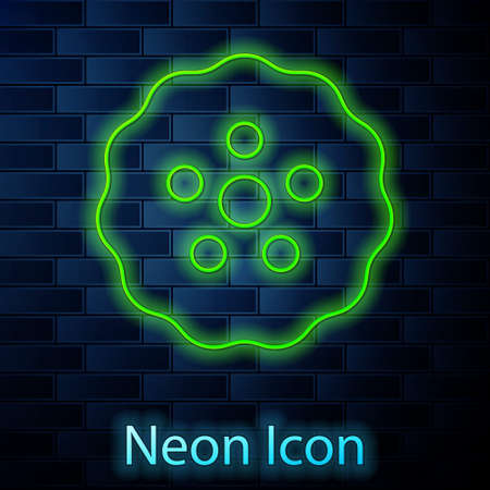 Glowing neon line Gear icon isolated on brick wall background. Cogwheel gear settings sign. Cog symbol. Vector
