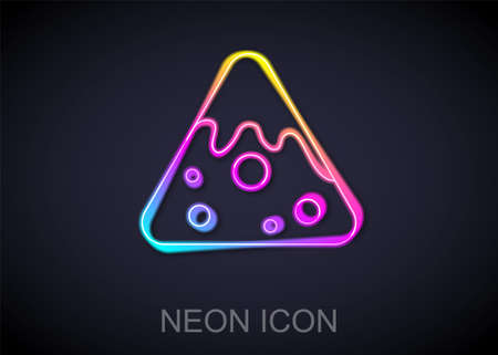Glowing neon line Nachos icon isolated on black background. Tortilla chips or nachos tortillas. Traditional mexican fast food. Vector