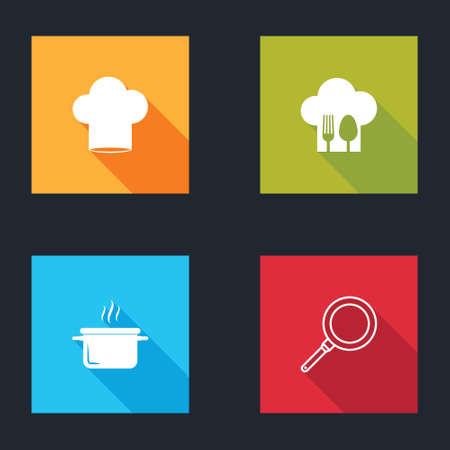 Set Chef hat, with fork and spoon, Cooking pot and Frying pan icon. Vector