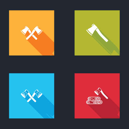 Set Crossed wooden axe, Wooden, and and icon. Vector