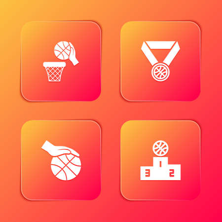 Set Basketball ball and basket, medal, Hand with basketball and Sports winner podium icon. Vector