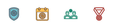 Set Shield in the basketball ball, Basketball on sport calendar, players and medal icon. Vector
