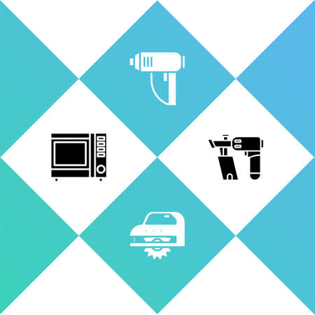 Set Microwave oven, Electric circular saw, industrial dryer and Nail gun icon. Vector 向量圖像